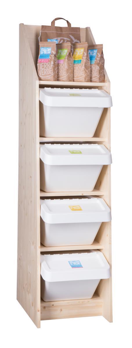 Použití produktu Stojan dřevěný na boxy pro sypanou drogerii